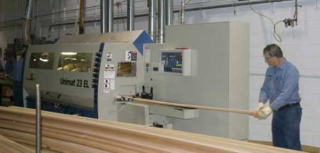 "3"" plank being fed into Cedar Strip Molding Machine"